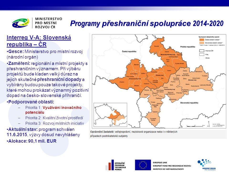 Interreg V-A: Slovenská republika – ČR Gesce: Ministerstvo pro místní rozvoj (národní orgán) Zaměření: regionální a místní projekty s přeshraničním vý