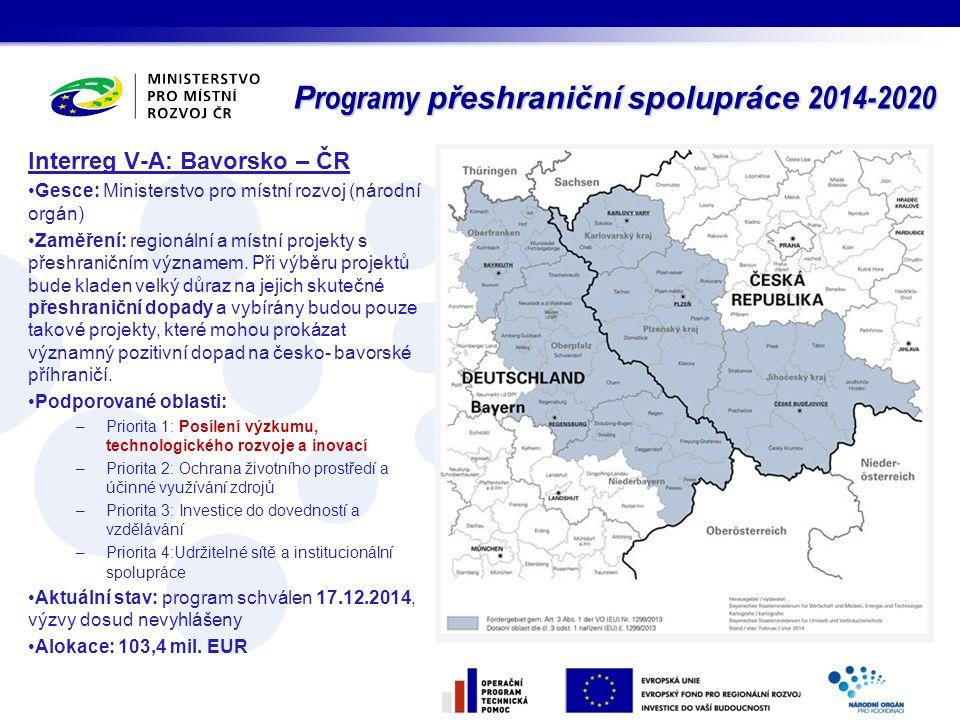 Interreg V-A: Bavorsko – ČR Gesce: Ministerstvo pro místní rozvoj (národní orgán) Zaměření: regionální a místní projekty s přeshraničním významem. Při