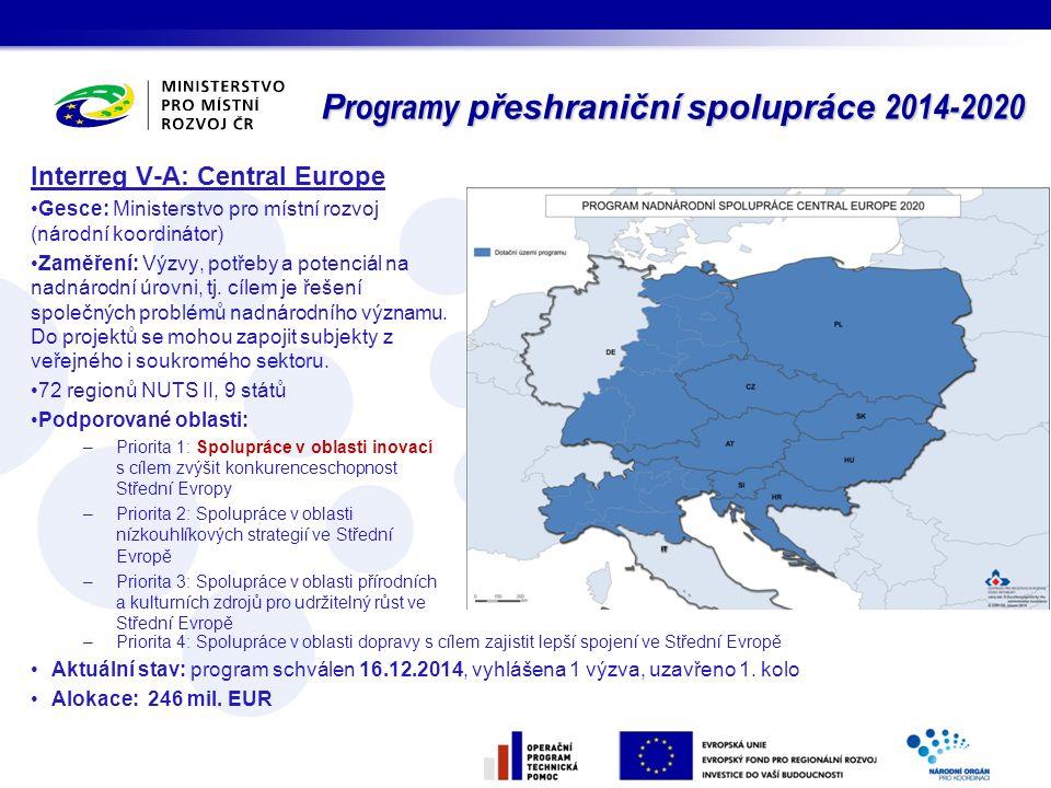 P rogramy přeshraniční spolupráce 2014-2020 Interreg V-A: Central Europe Gesce: Ministerstvo pro místní rozvoj (národní koordinátor) Zaměření: Výzvy,
