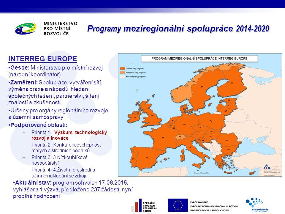 P rogramy meziregionální spolupráce 2014-2020 INTERREG EUROPE Gesce: Ministerstvo pro místní rozvoj (národní koordinátor) Zaměření: Spolupráce, vytvář