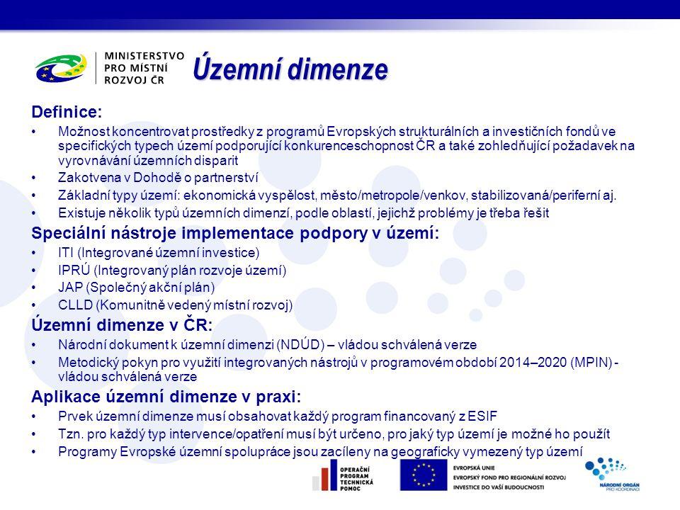 Definice: Možnost koncentrovat prostředky z programů Evropských strukturálních a investičních fondů ve specifických typech území podporující konkurenc