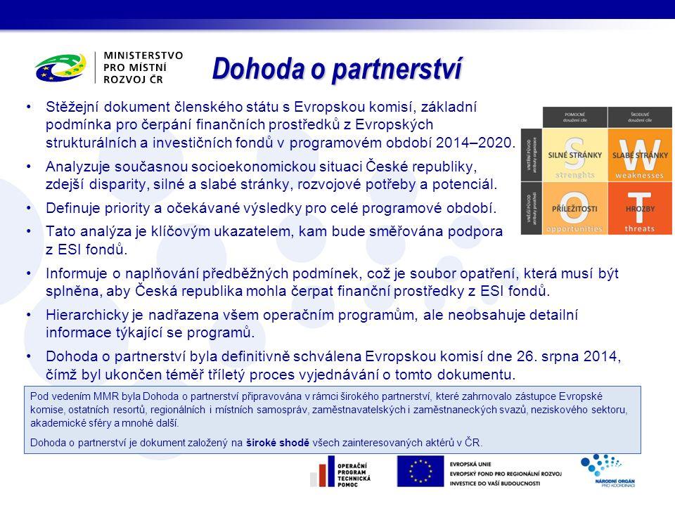 Stěžejní dokument členského státu s Evropskou komisí, základní podmínka pro čerpání finančních prostředků z Evropských strukturálních a investičních f