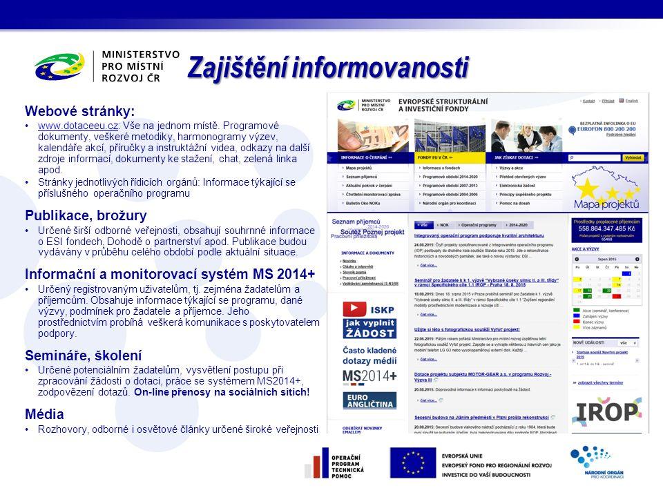 Zajištění informovanosti Webové stránky: www.dotaceeu.cz: Vše na jednom místě. Programové dokumenty, veškeré metodiky, harmonogramy výzev, kalendáře a
