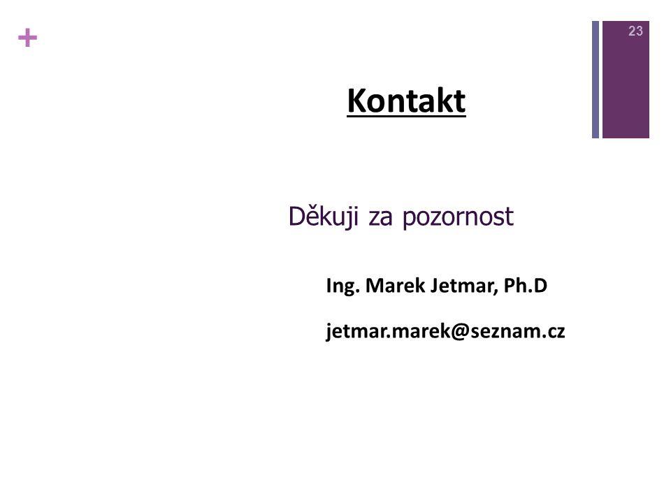 + Kontakt Děkuji za pozornost Ing. Marek Jetmar, Ph.D jetmar.marek@seznam.cz 23