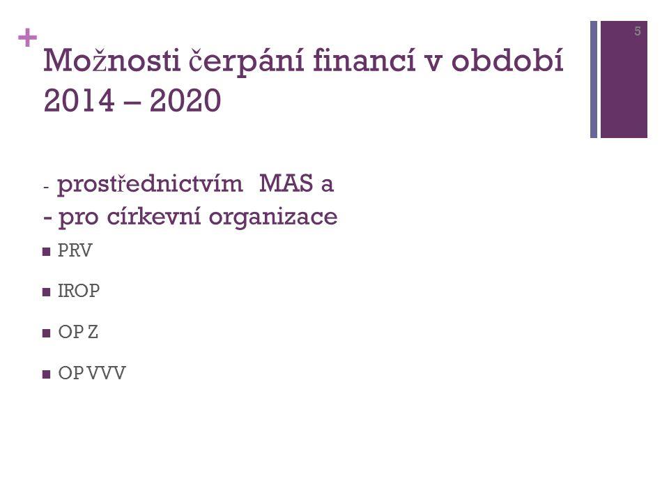 + Mo ž nosti č erpání financí v období 2014 – 2020 - prost ř ednictvím MAS a - pro církevní organizace PRV IROP OP Z OP VVV 5
