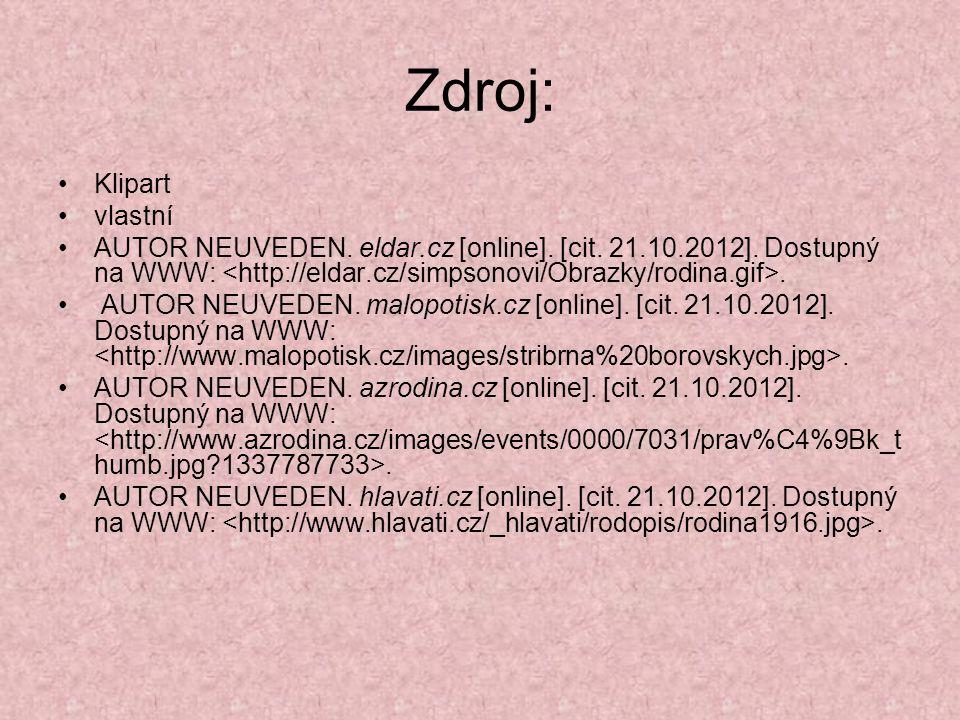 Zdroj: Klipart vlastní AUTOR NEUVEDEN. eldar.cz [online]. [cit. 21.10.2012]. Dostupný na WWW:. AUTOR NEUVEDEN. malopotisk.cz [online]. [cit. 21.10.201