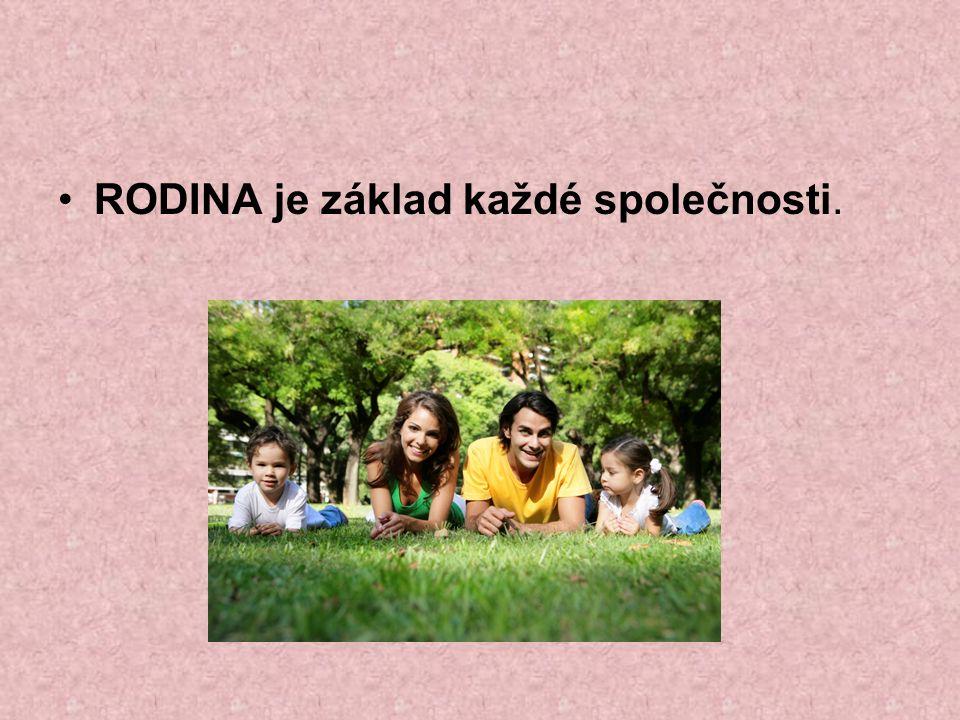 Rozdělení rodiny: 1. ZÁKLADNÍ RODINA matka + otec + děti