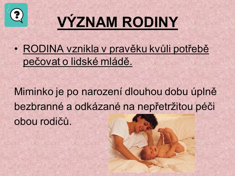 HISTORIE RODINY 1.RODINA V PRAVĚKU Hlavní roli v rodině měla žena – matka.