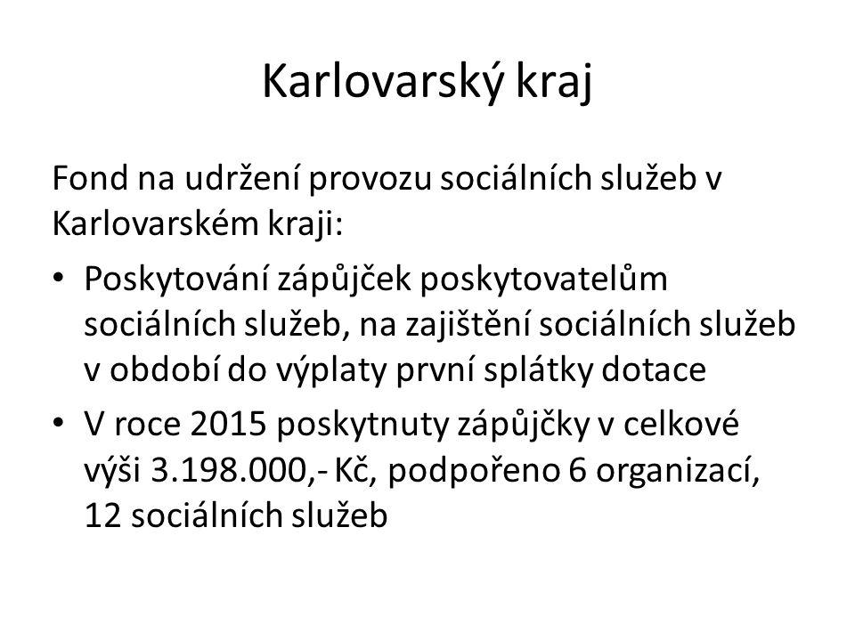 Karlovarský kraj Fond na udržení provozu sociálních služeb v Karlovarském kraji: Poskytování zápůjček poskytovatelům sociálních služeb, na zajištění s