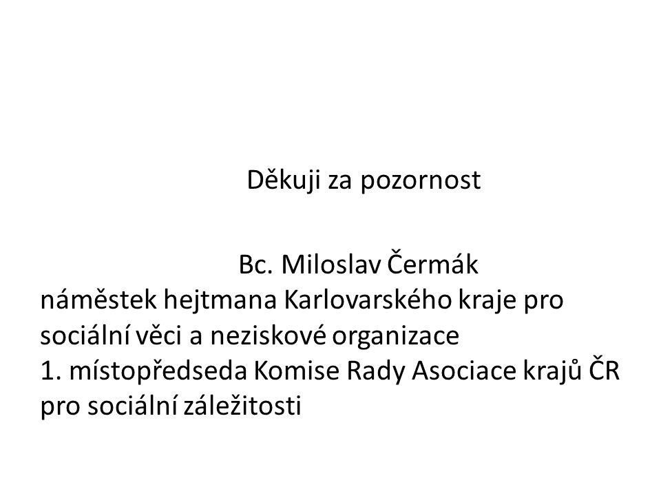 Děkuji za pozornost Bc. Miloslav Čermák náměstek hejtmana Karlovarského kraje pro sociální věci a neziskové organizace 1. místopředseda Komise Rady As