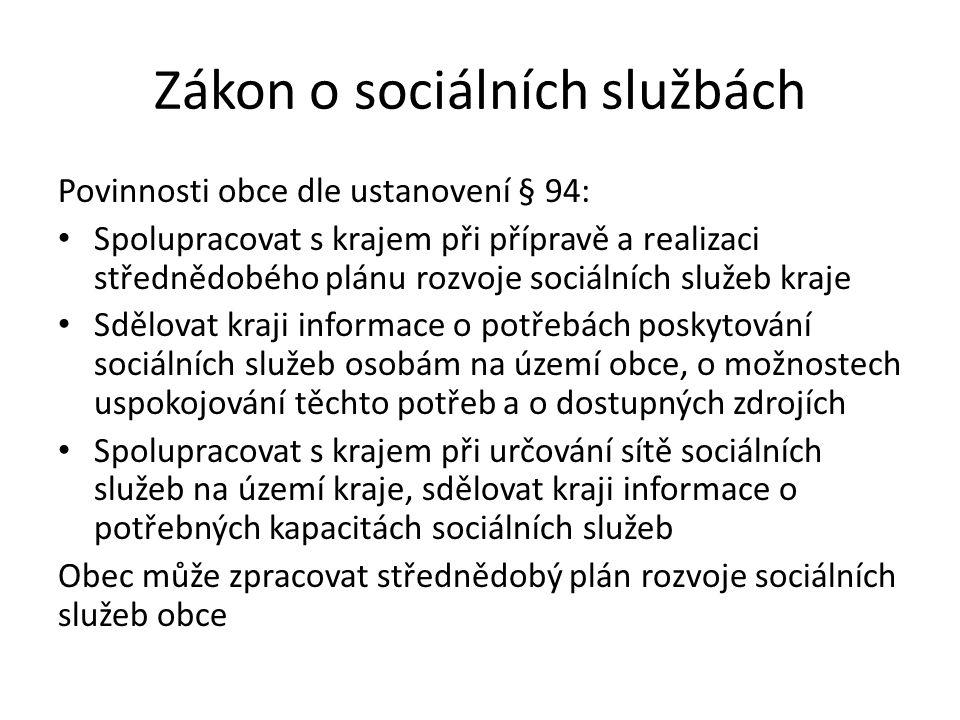 Zákon o sociálních službách Povinnosti obce dle ustanovení § 94: Spolupracovat s krajem při přípravě a realizaci střednědobého plánu rozvoje sociálníc