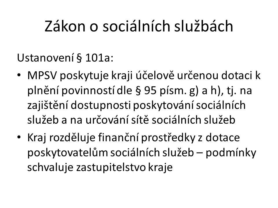 Zákon o sociálních službách Ustanovení § 101a: MPSV poskytuje kraji účelově určenou dotaci k plnění povinností dle § 95 písm. g) a h), tj. na zajištěn