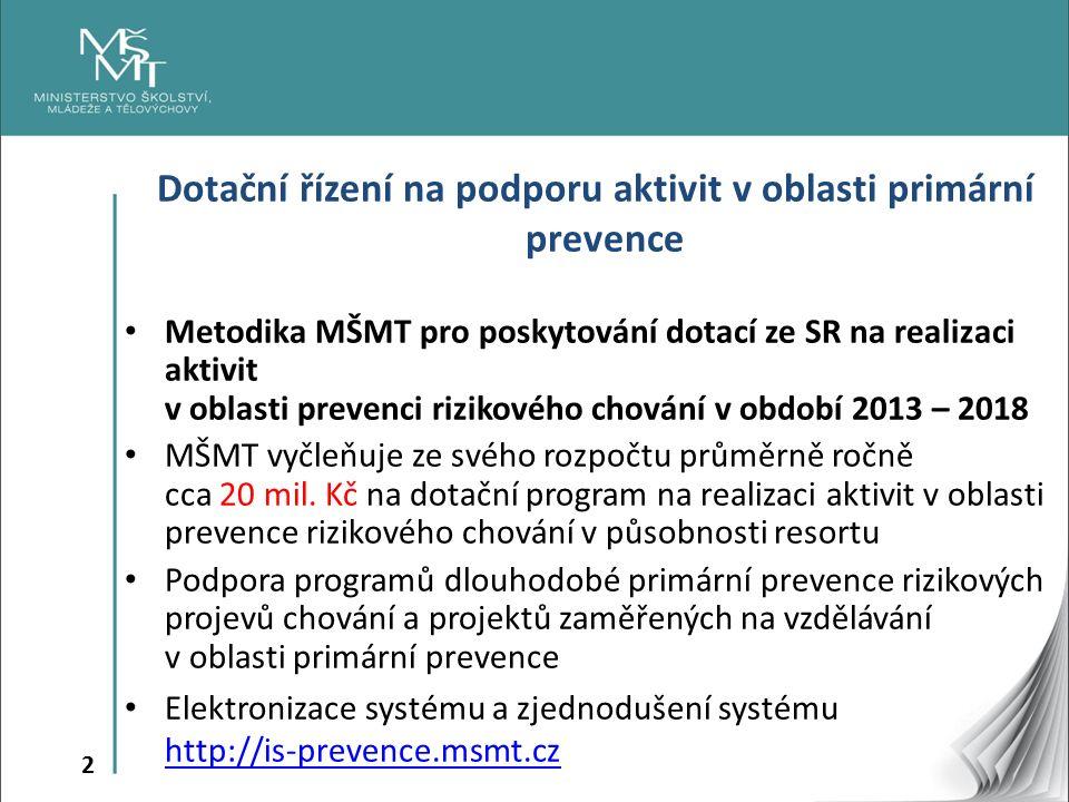 2 Dotační řízení na podporu aktivit v oblasti primární prevence Metodika MŠMT pro poskytování dotací ze SR na realizaci aktivit v oblasti prevenci riz