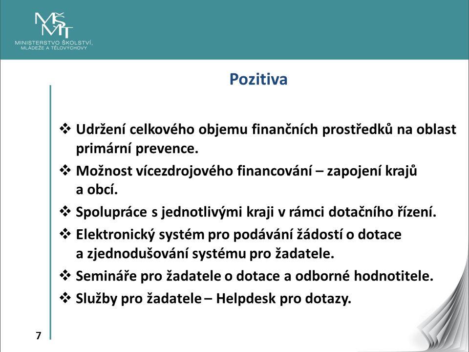 7 Pozitiva  Udržení celkového objemu finančních prostředků na oblast primární prevence.  Možnost vícezdrojového financování – zapojení krajů a obcí.