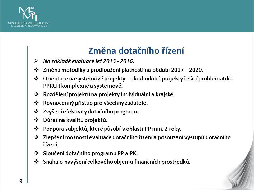 9 Změna dotačního řízení  Na základě evaluace let 2013 - 2016.  Změna metodiky a prodloužení platnosti na období 2017 – 2020.  Orientace na systémo