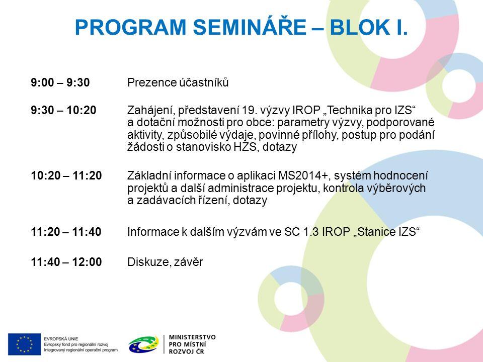 PROGRAM SEMINÁŘE – BLOK I. 9:00 – 9:30Prezence účastníků 9:30 – 10:20Zahájení, představení 19.
