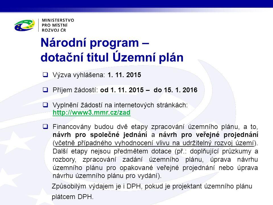 Národní program – dotační titul Územní plán  Výzva vyhlášena: 1. 11. 2015  Příjem žádostí: od 1. 11. 2015 – do 15. 1. 2016  Vyplnění žádostí na int