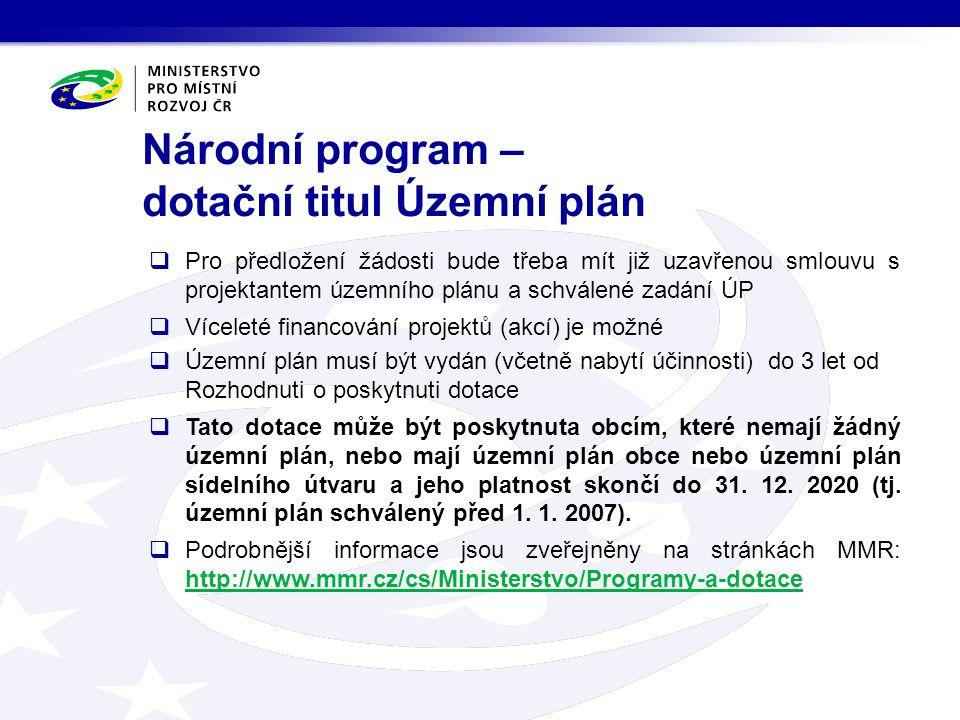 Národní program – dotační titul Územní plán  Pro předložení žádosti bude třeba mít již uzavřenou smlouvu s projektantem územního plánu a schválené za