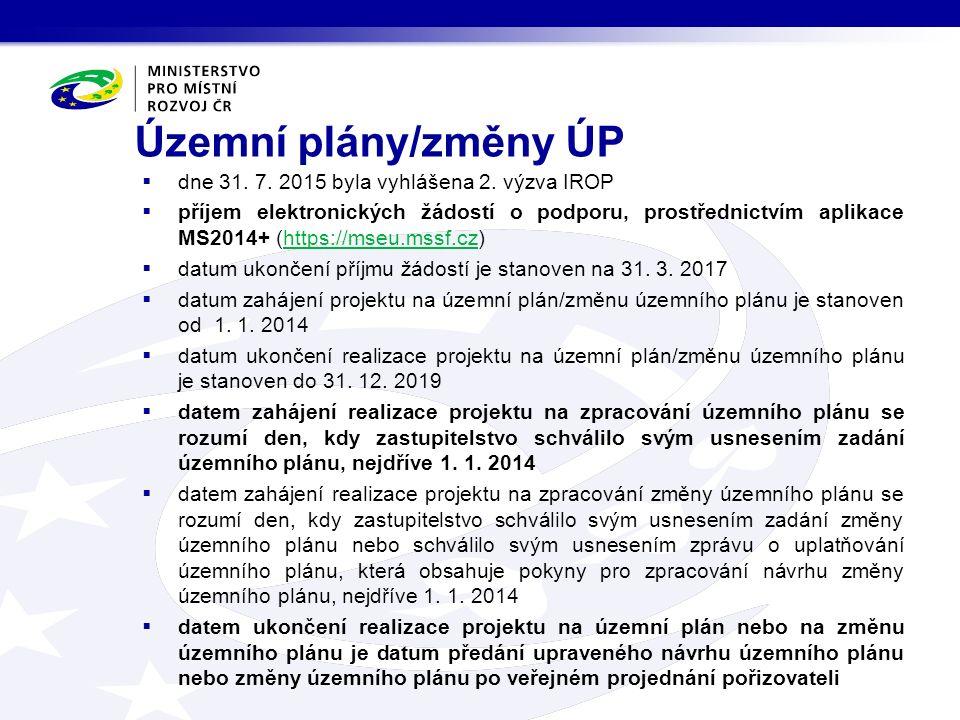 Územní plány/změny ÚP  dne 31. 7. 2015 byla vyhlášena 2. výzva IROP  příjem elektronických žádostí o podporu, prostřednictvím aplikace MS2014+ (http