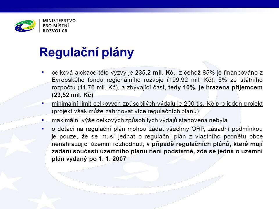 Regulační plány  celková alokace této výzvy je 235,2 mil. Kč., z čehož 85% je financováno z Evropského fondu regionálního rozvoje (199,92 mil. Kč), 5