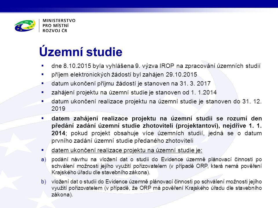 Územní studie  dne 8.10.2015 byla vyhlášena 9. výzva IROP na zpracování územních studií  příjem elektronických žádostí byl zahájen 29.10.2015  datu