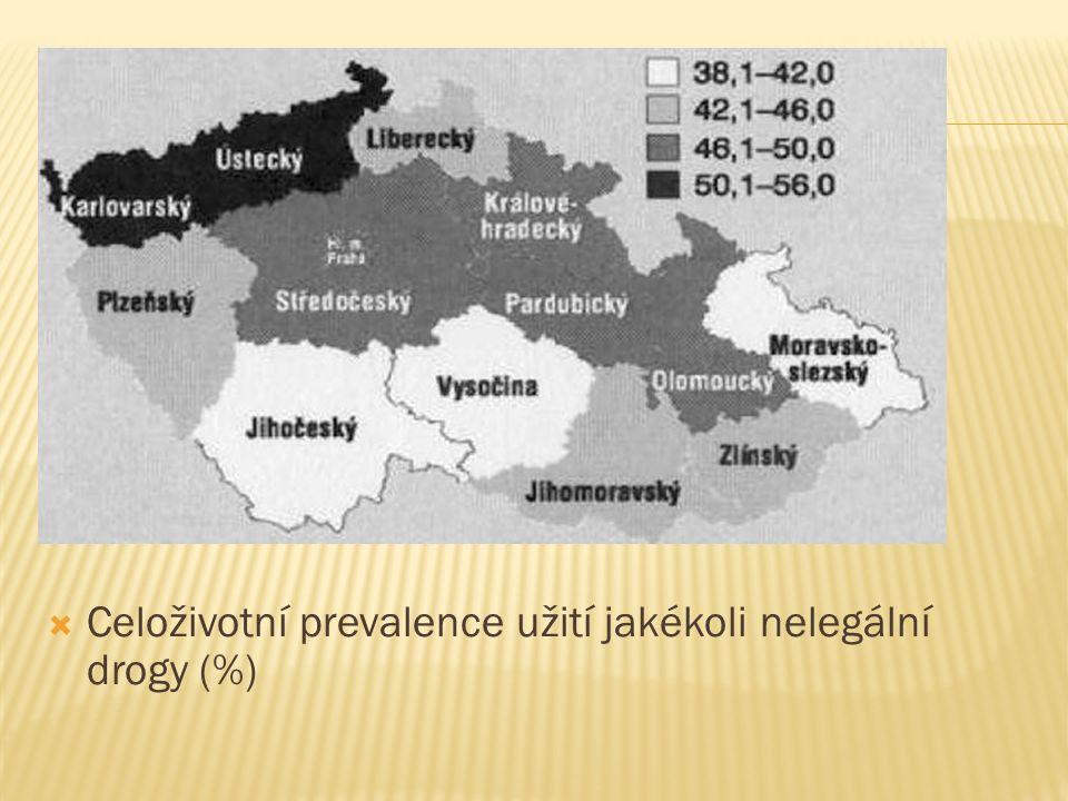  Celoživotní prevalence užití jakékoli nelegální drogy (%)