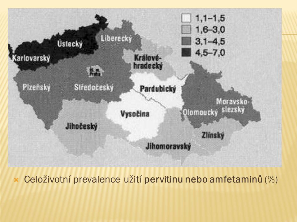  Celoživotní prevalence užití pervitinu nebo amfetaminů (%)