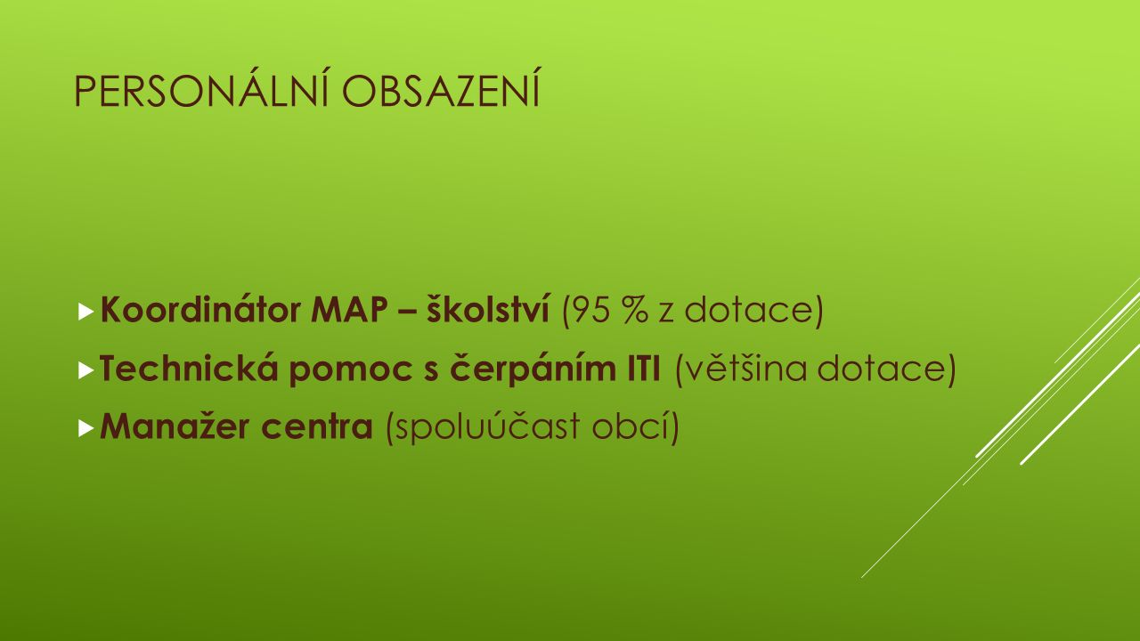 PERSONÁLNÍ OBSAZENÍ  Koordinátor MAP – školství (95 % z dotace)  Technická pomoc s čerpáním ITI (většina dotace)  Manažer centra (spoluúčast obcí)