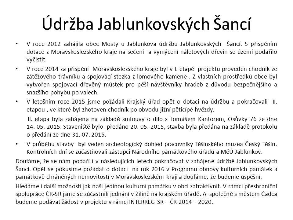 Údržba Jablunkovských Šancí V roce 2012 zahájila obec Mosty u Jablunkova údržbu Jablunkovských Šancí.