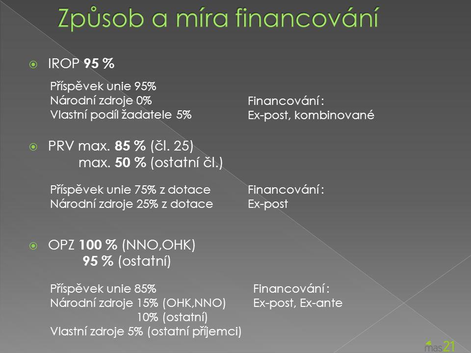  IROP 95 %  PRV max. 85 % (čl. 25) max.