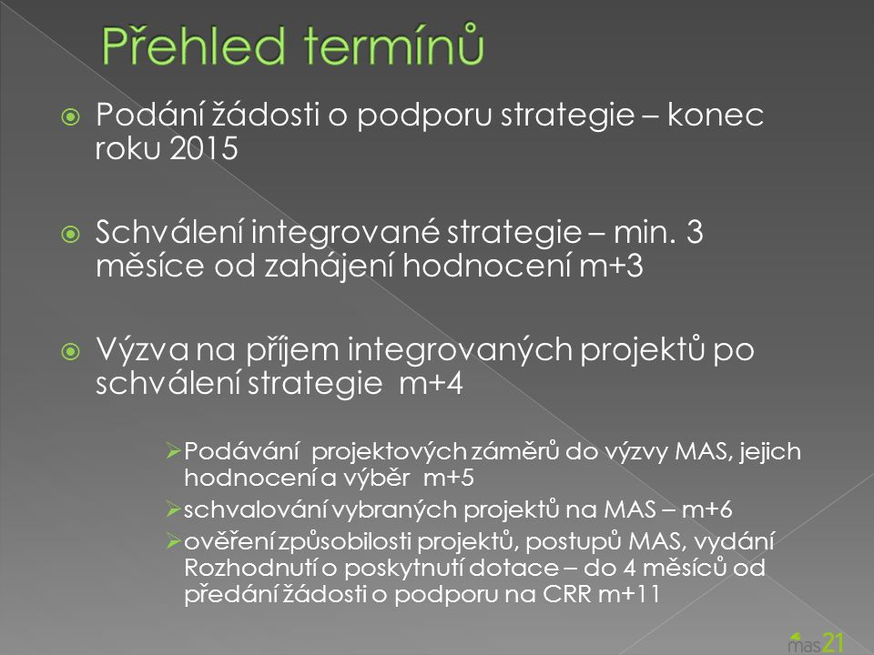  Podání žádosti o podporu strategie – konec roku 2015  Schválení integrované strategie – min.
