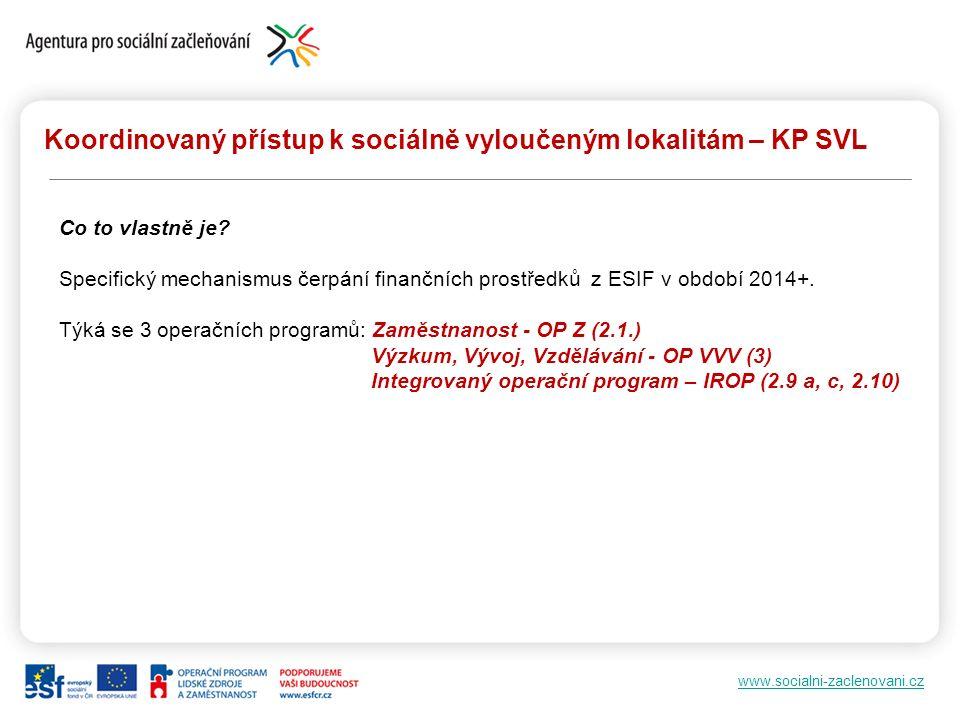www.socialni-zaclenovani.cz Koordinovaný přístup k sociálně vyloučeným lokalitám – KP SVL Co to vlastně je? Specifický mechanismus čerpání finančních