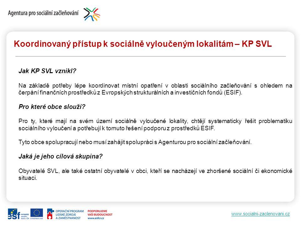 www.socialni-zaclenovani.cz Koordinovaný přístup k sociálně vyloučeným lokalitám – KP SVL Jak KP SVL vznikl? Na základě potřeby lépe koordinovat místn