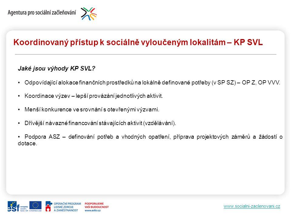 www.socialni-zaclenovani.cz Koordinovaný přístup k sociálně vyloučeným lokalitám – KP SVL Jaké jsou výhody KP SVL? Odpovídající alokace finančních pro
