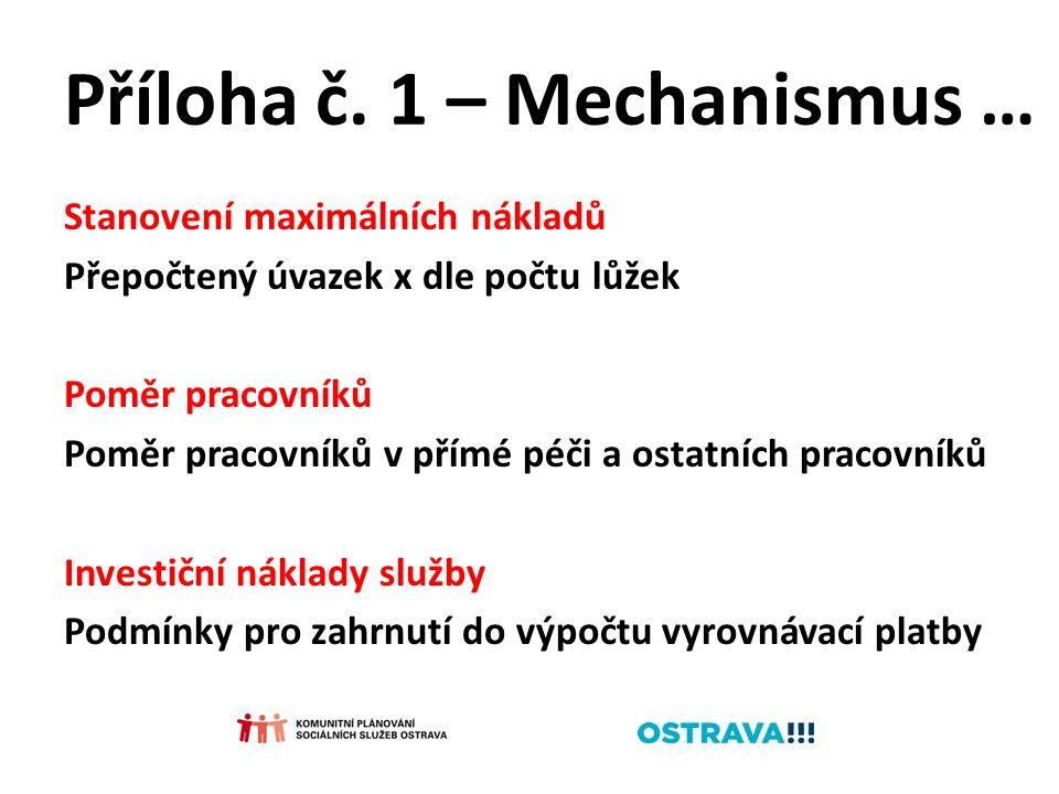Příloha č. 1 – Mechanismus … Stanovení maximálních nákladů Přepočtený úvazek x dle počtu lůžek Poměr pracovníků Poměr pracovníků v přímé péči a ostatn