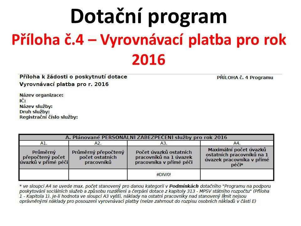 Dotační program Příloha č.4 – Vyrovnávací platba pro rok 2016