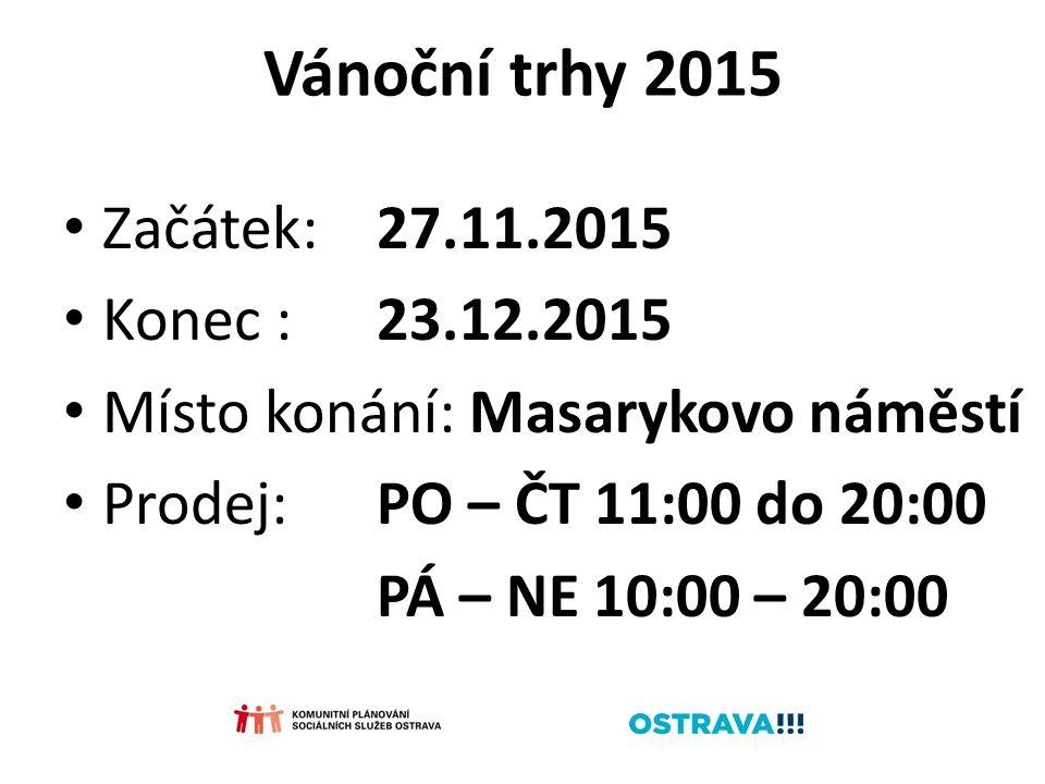 Vánoční trhy 2015 Začátek:27.11.2015 Konec :23.12.2015 Místo konání: Masarykovo náměstí Prodej:PO – ČT 11:00 do 20:00 PÁ – NE 10:00 – 20:00