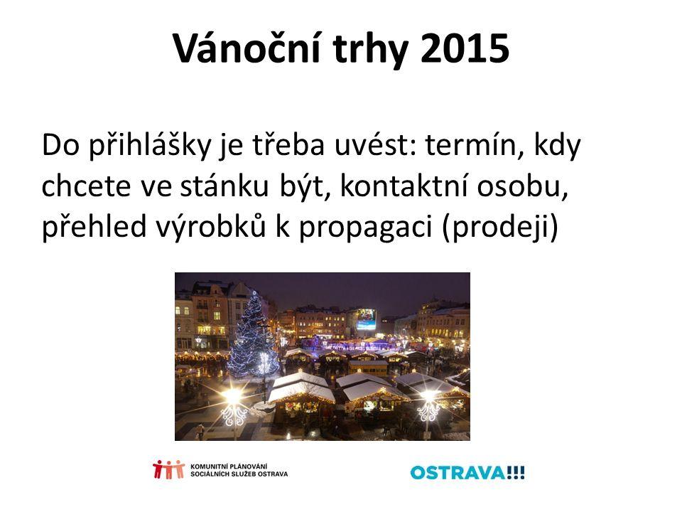 Vánoční trhy 2015 Do přihlášky je třeba uvést: termín, kdy chcete ve stánku být, kontaktní osobu, přehled výrobků k propagaci (prodeji)