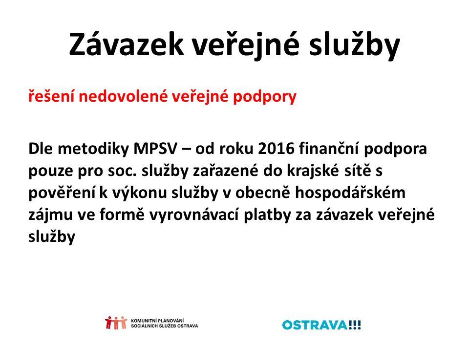 Závazek veřejné služby řešení nedovolené veřejné podpory Dle metodiky MPSV – od roku 2016 finanční podpora pouze pro soc. služby zařazené do krajské s