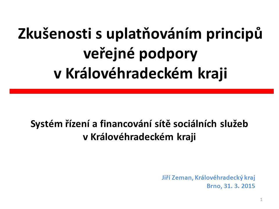Zkušenosti s uplatňováním principů veřejné podpory v Královéhradeckém kraji Systém řízení a financování sítě sociálních služeb v Královéhradeckém kraji 1 Jiří Zeman, Královéhradecký kraj Brno, 31.