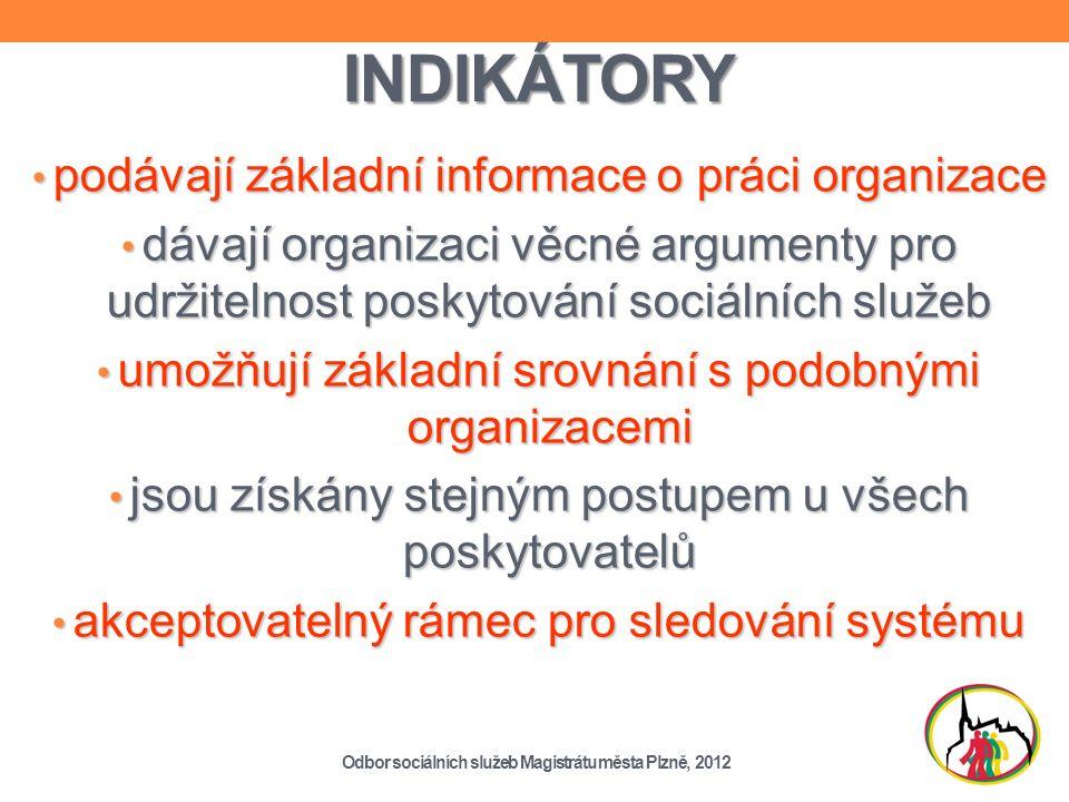 INDIKÁTORY podávají základní informace o práci organizace podávají základní informace o práci organizace dávají organizaci věcné argumenty pro udržitelnost poskytování sociálních služeb dávají organizaci věcné argumenty pro udržitelnost poskytování sociálních služeb umožňují základní srovnání s podobnými organizacemi umožňují základní srovnání s podobnými organizacemi jsou získány stejným postupem u všech poskytovatelů jsou získány stejným postupem u všech poskytovatelů akceptovatelný rámec pro sledování systému akceptovatelný rámec pro sledování systému Odbor sociálních služeb Magistrátu města Plzně, 2012