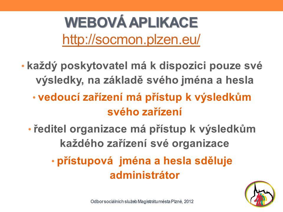 WEBOVÁ APLIKACE WEBOVÁ APLIKACE http://socmon.plzen.eu/ http://socmon.plzen.eu/ každý poskytovatel má k dispozici pouze své výsledky, na základě svého jména a hesla vedoucí zařízení má přístup k výsledkům svého zařízení ředitel organizace má přístup k výsledkům každého zařízení své organizace přístupová jména a hesla sděluje administrátor Odbor sociálních služeb Magistrátu města Plzně, 2012