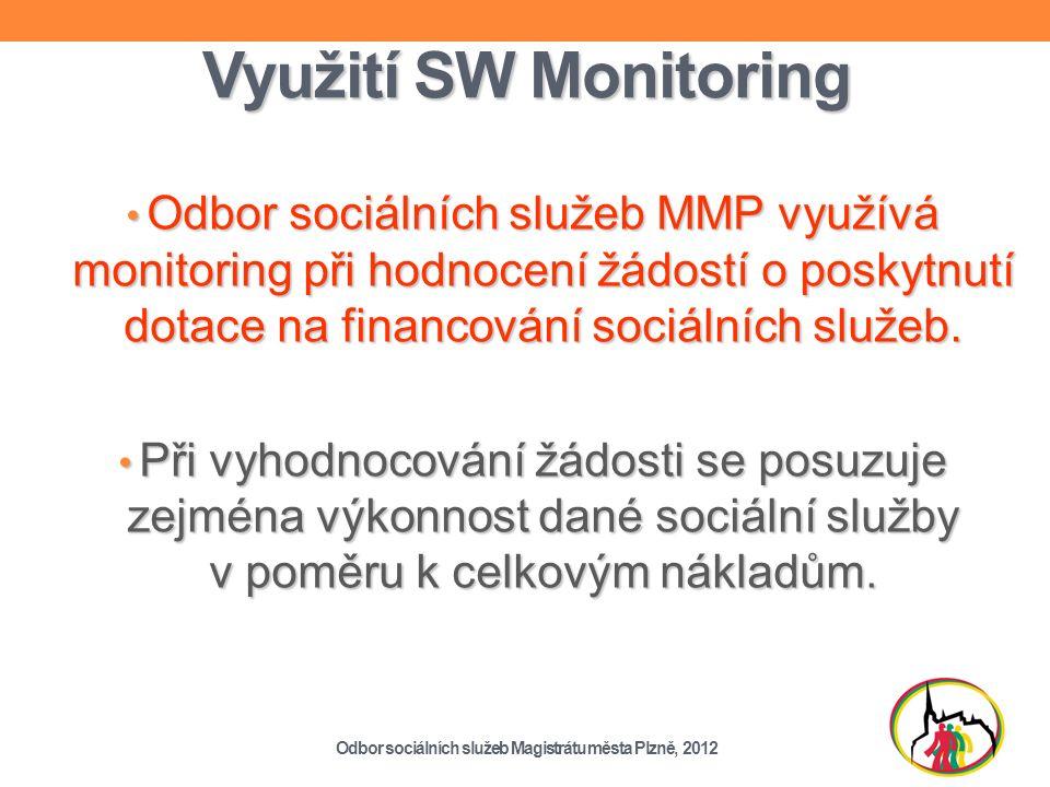 Využití SW Monitoring Odbor sociálních služeb MMP využívá monitoring při hodnocení žádostí o poskytnutí dotace na financování sociálních služeb.