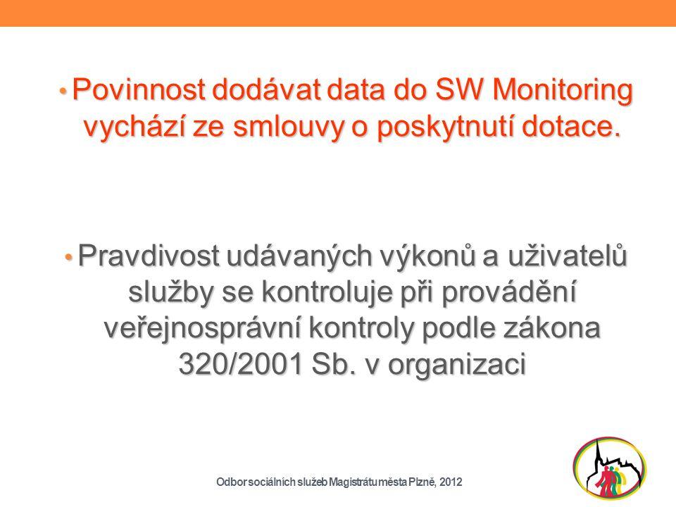 Povinnost dodávat data do SW Monitoring vychází ze smlouvy o poskytnutí dotace.