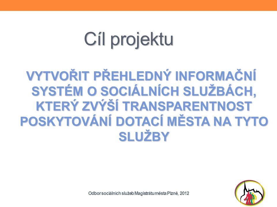 Cíl projektu VYTVOŘIT PŘEHLEDNÝ INFORMAČNÍ SYSTÉM O SOCIÁLNÍCH SLUŽBÁCH, KTERÝ ZVÝŠÍ TRANSPARENTNOST POSKYTOVÁNÍ DOTACÍ MĚSTA NA TYTO SLUŽBY Odbor sociálních služeb Magistrátu města Plzně, 2012