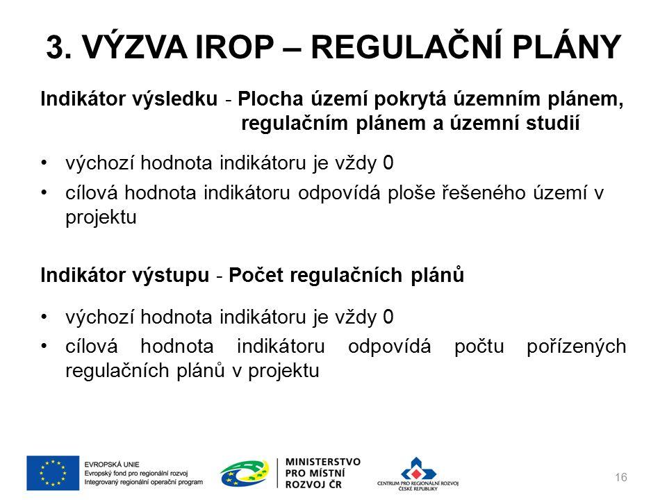 3. VÝZVA IROP – REGULAČNÍ PLÁNY Indikátor výsledku - Plocha území pokrytá územním plánem, regulačním plánem a územní studií výchozí hodnota indikátoru
