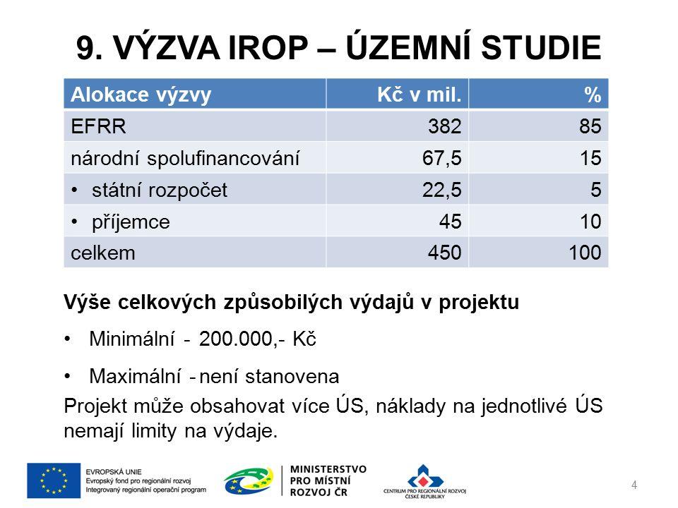 9. VÝZVA IROP – ÚZEMNÍ STUDIE 4 Alokace výzvyKč v mil.% EFRR38285 národní spolufinancování67,515 státní rozpočet22,55 příjemce4510 celkem450100 Výše c