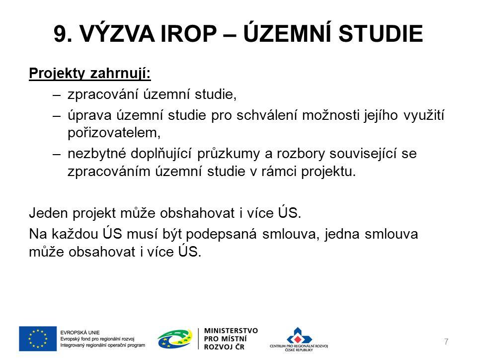 9. VÝZVA IROP – ÚZEMNÍ STUDIE Projekty zahrnují: –zpracování územní studie, –úprava územní studie pro schválení možnosti jejího využití pořizovatelem,