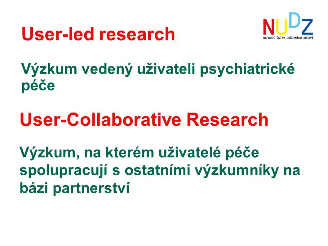 User-led research Výzkum vedený uživateli psychiatrické péče User-Collaborative Research Výzkum, na kterém uživatelé péče spolupracují s ostatními výzkumníky na bázi partnerství
