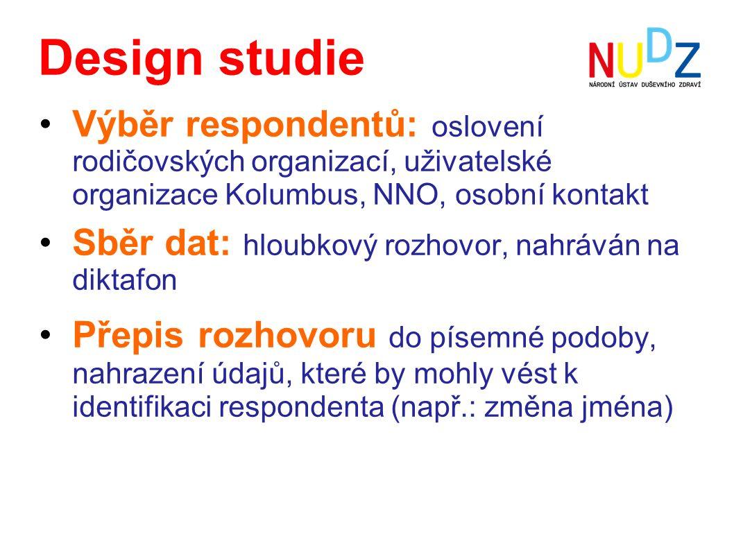 Design studie Výběr respondentů: oslovení rodičovských organizací, uživatelské organizace Kolumbus, NNO, osobní kontakt Sběr dat: hloubkový rozhovor,
